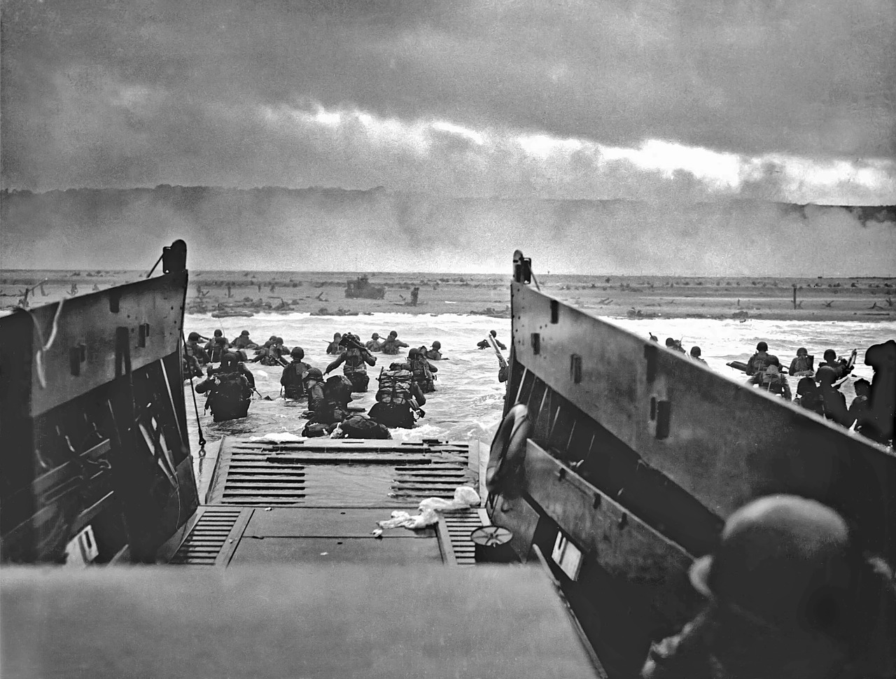 Landing craft on beach during war